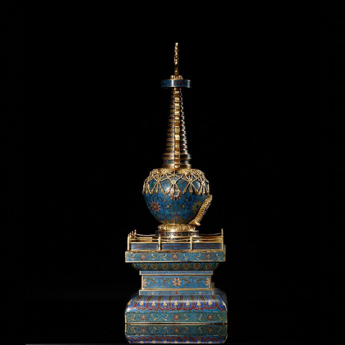 CHINESE CLOISONNE BUDDHIST STUPA - 5
