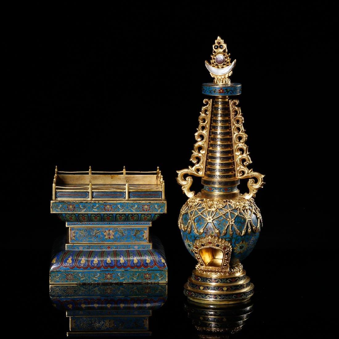 CHINESE CLOISONNE BUDDHIST STUPA - 6