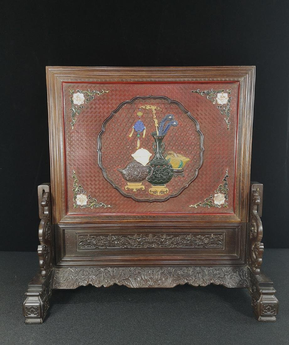 CHINESE CINNABAR LACQUER TABLE SCREEN
