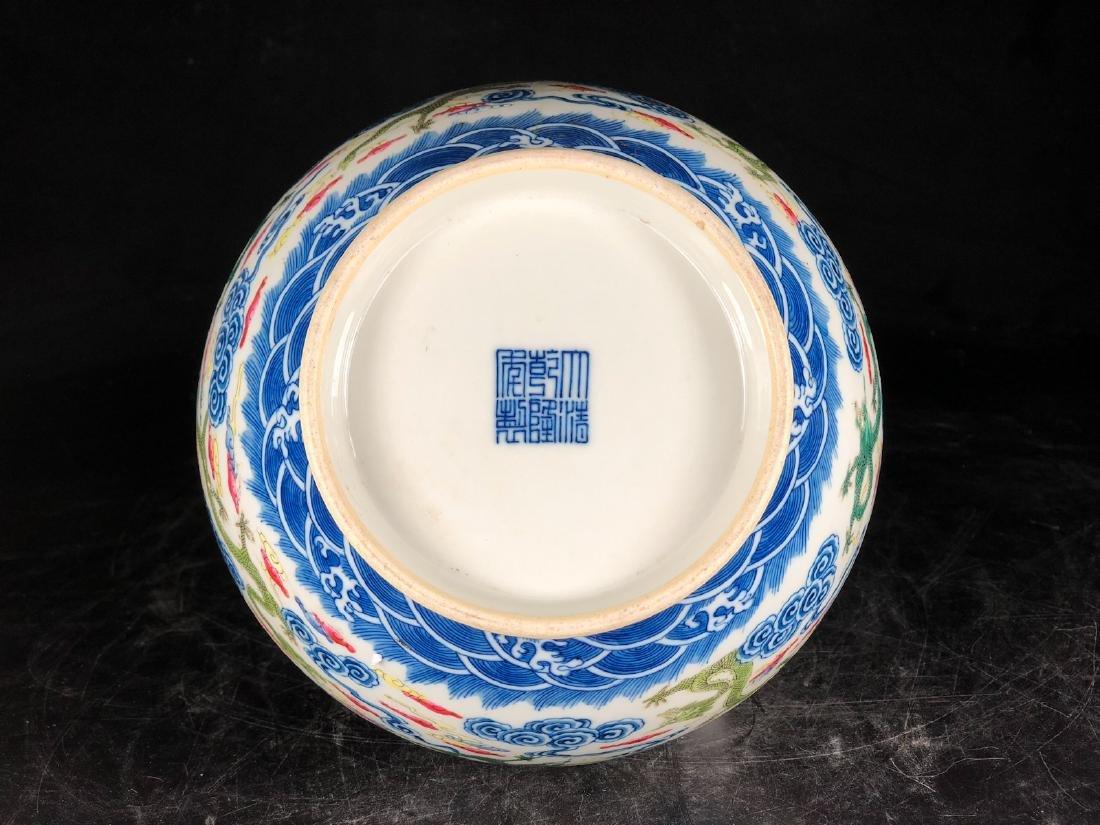 CHINESE BLUE WHITE FAMILLE ROSE LONG NECK VASE - 2