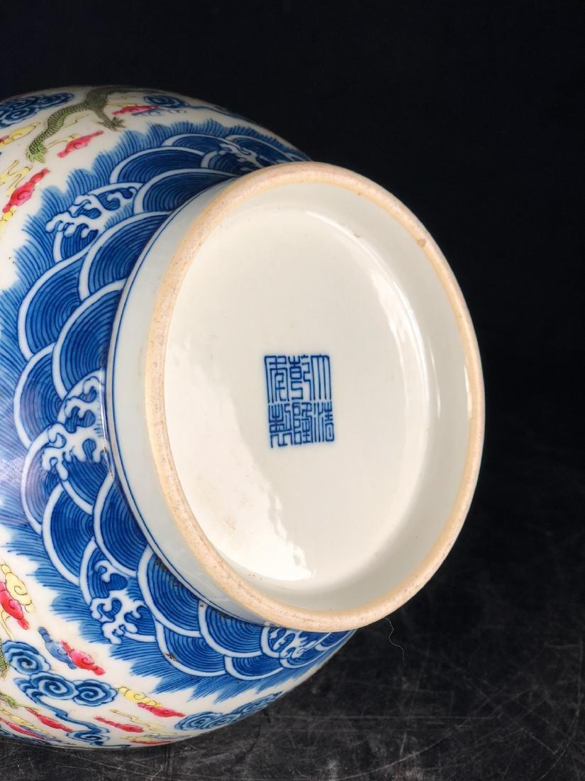 CHINESE BLUE WHITE FAMILLE ROSE LONG NECK VASE - 3