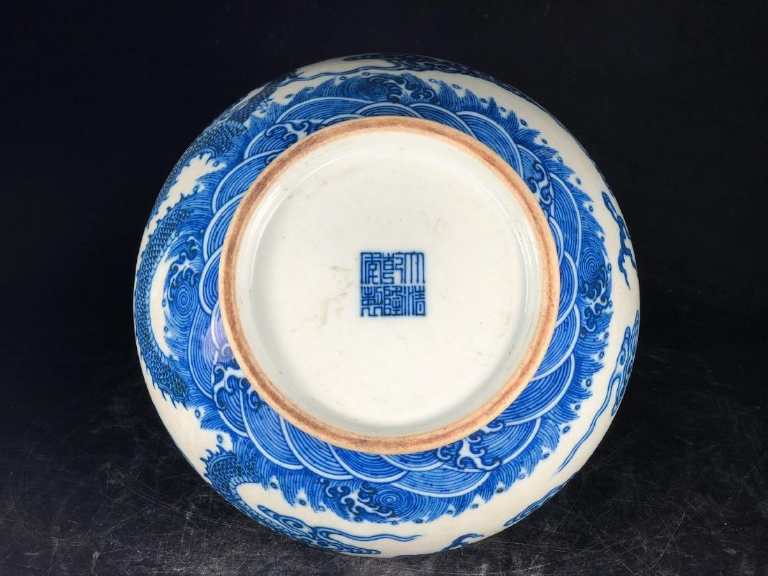 CHINESE BLUE WHITE DRAGON PORCELAIN VASE - 8