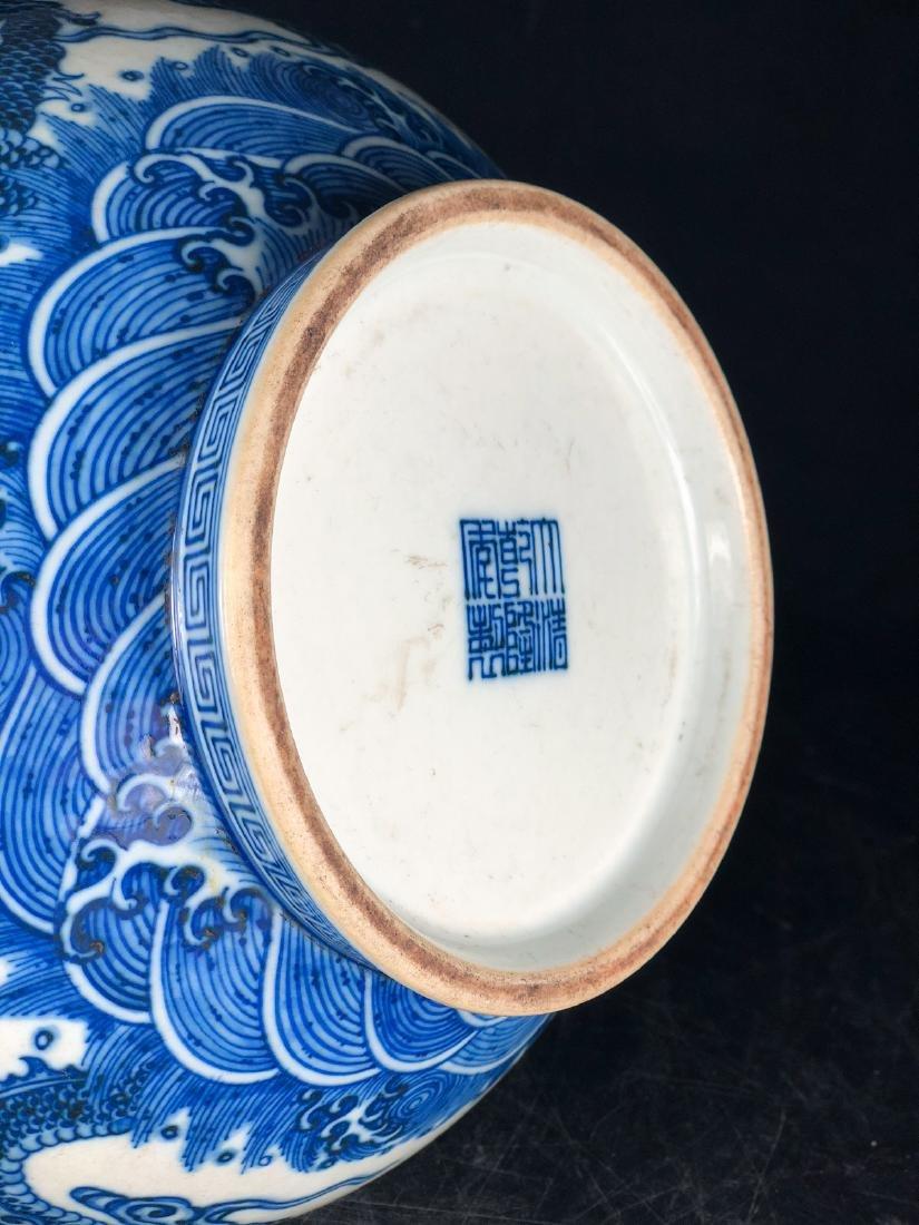 CHINESE BLUE WHITE DRAGON PORCELAIN VASE - 9