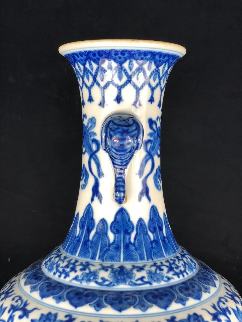 CHINESE BLUE WHITE FOLIAGE PORCELAIN VASE - 9
