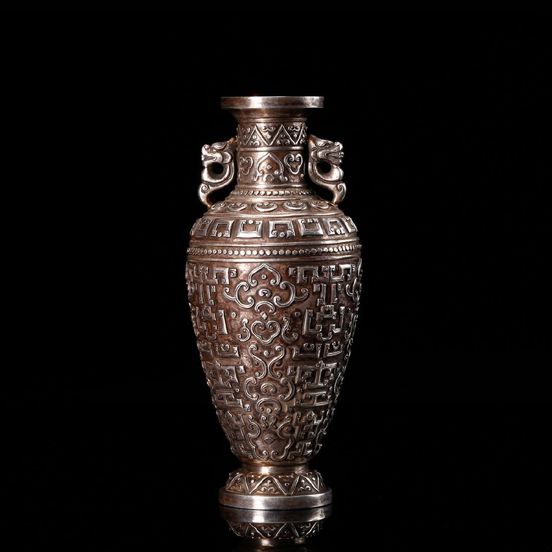 CHINESE SILVER VASE WITH DRAGON EARS
