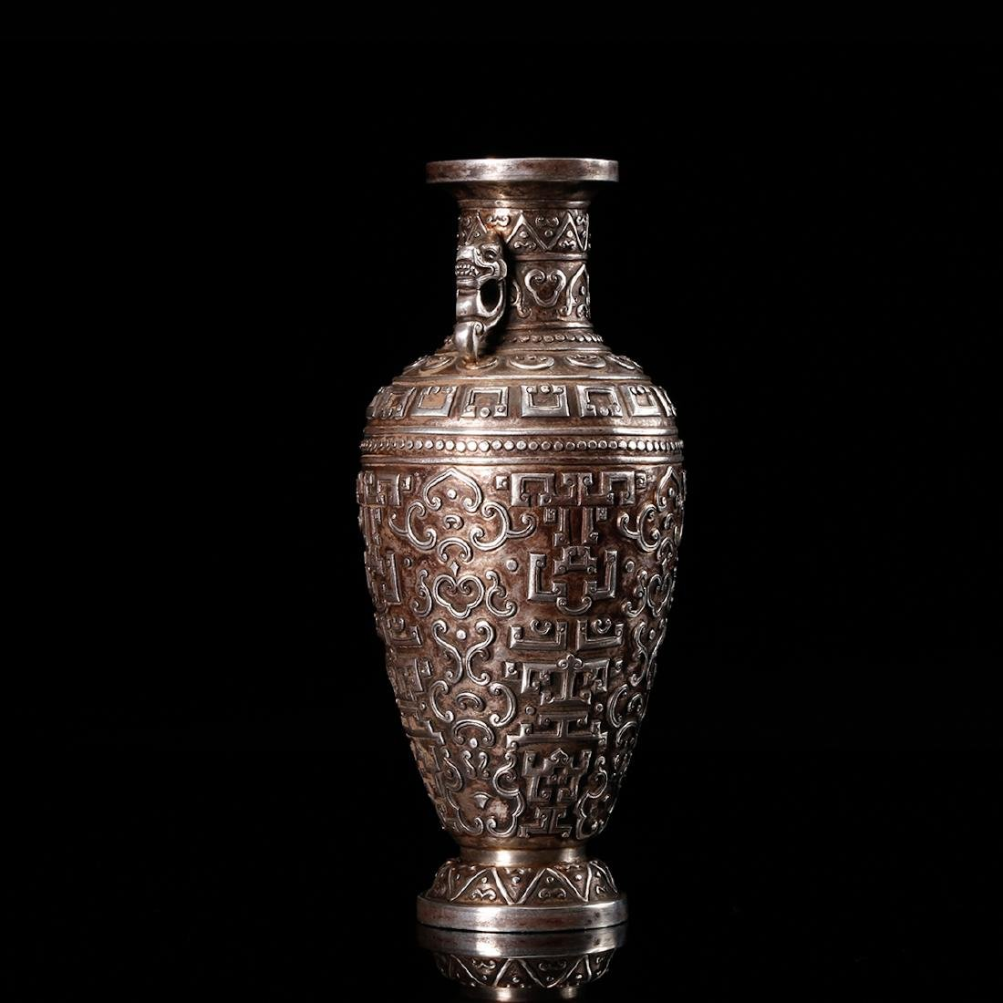 CHINESE SILVER VASE WITH DRAGON EARS - 2