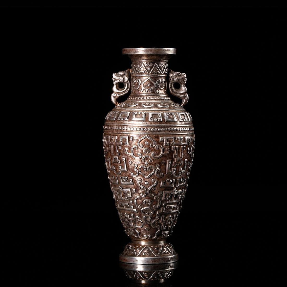 CHINESE SILVER VASE WITH DRAGON EARS - 3