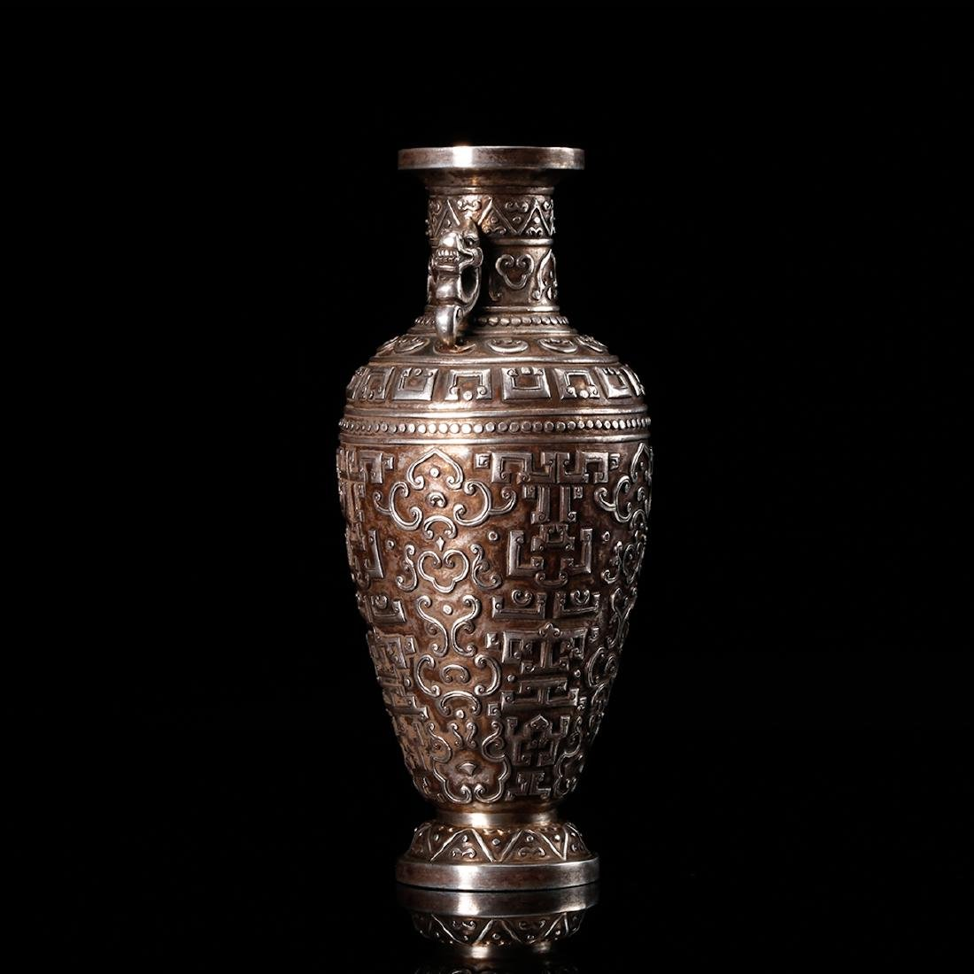 CHINESE SILVER VASE WITH DRAGON EARS - 4