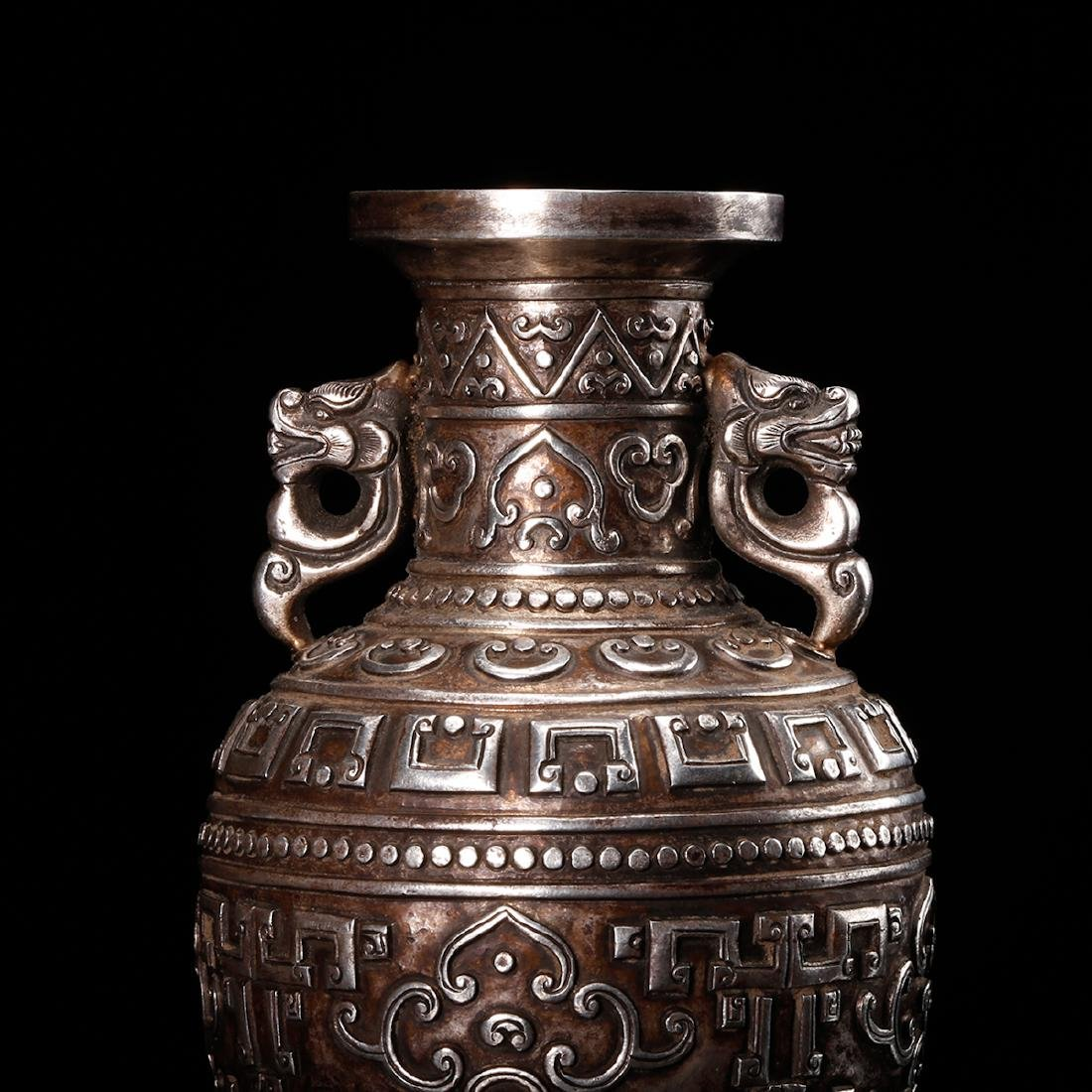 CHINESE SILVER VASE WITH DRAGON EARS - 7