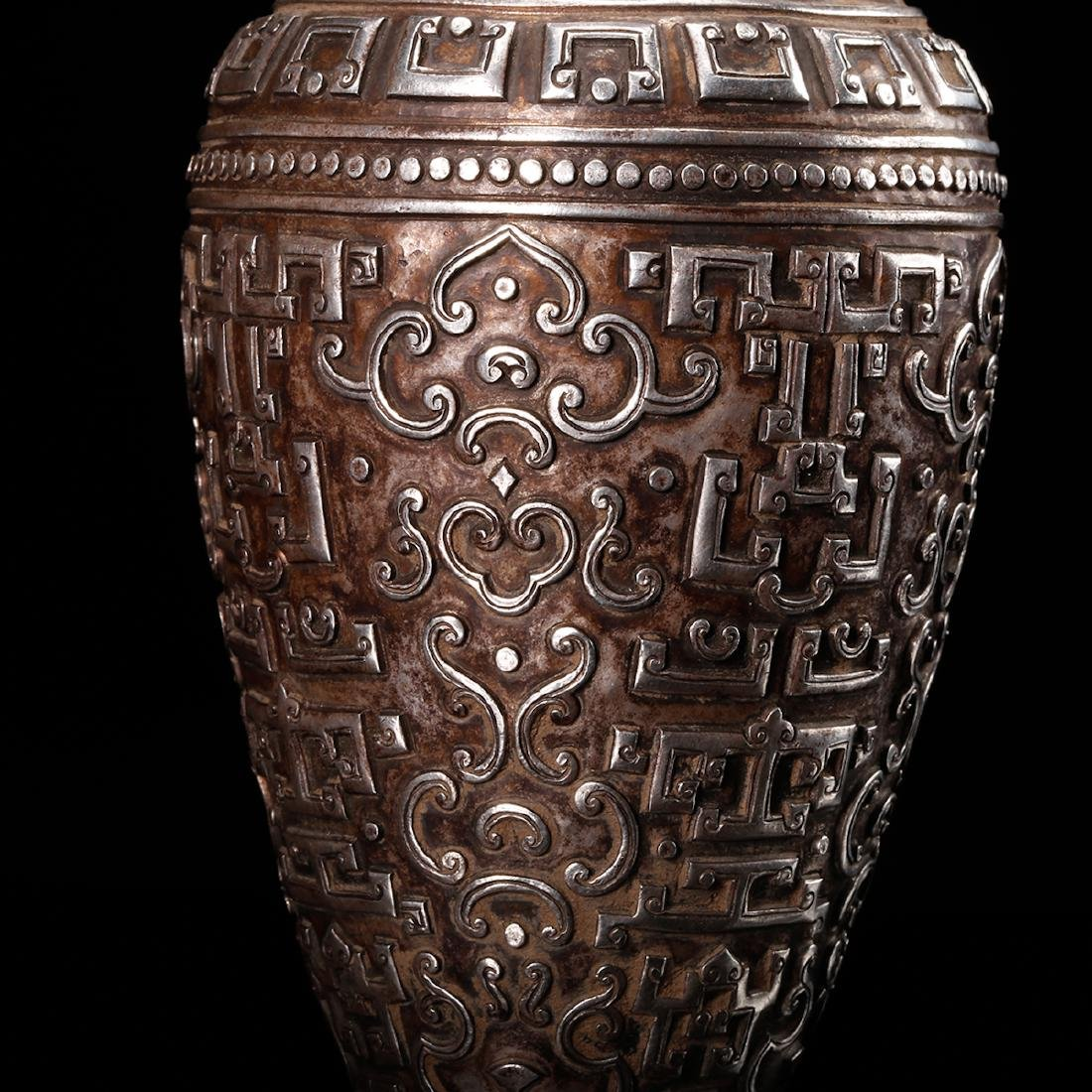 CHINESE SILVER VASE WITH DRAGON EARS - 8