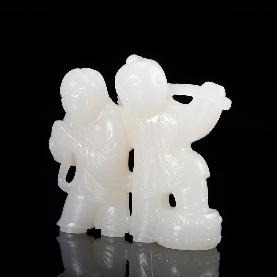 CHINESE WHITE JADE CARVED TWO BOYS