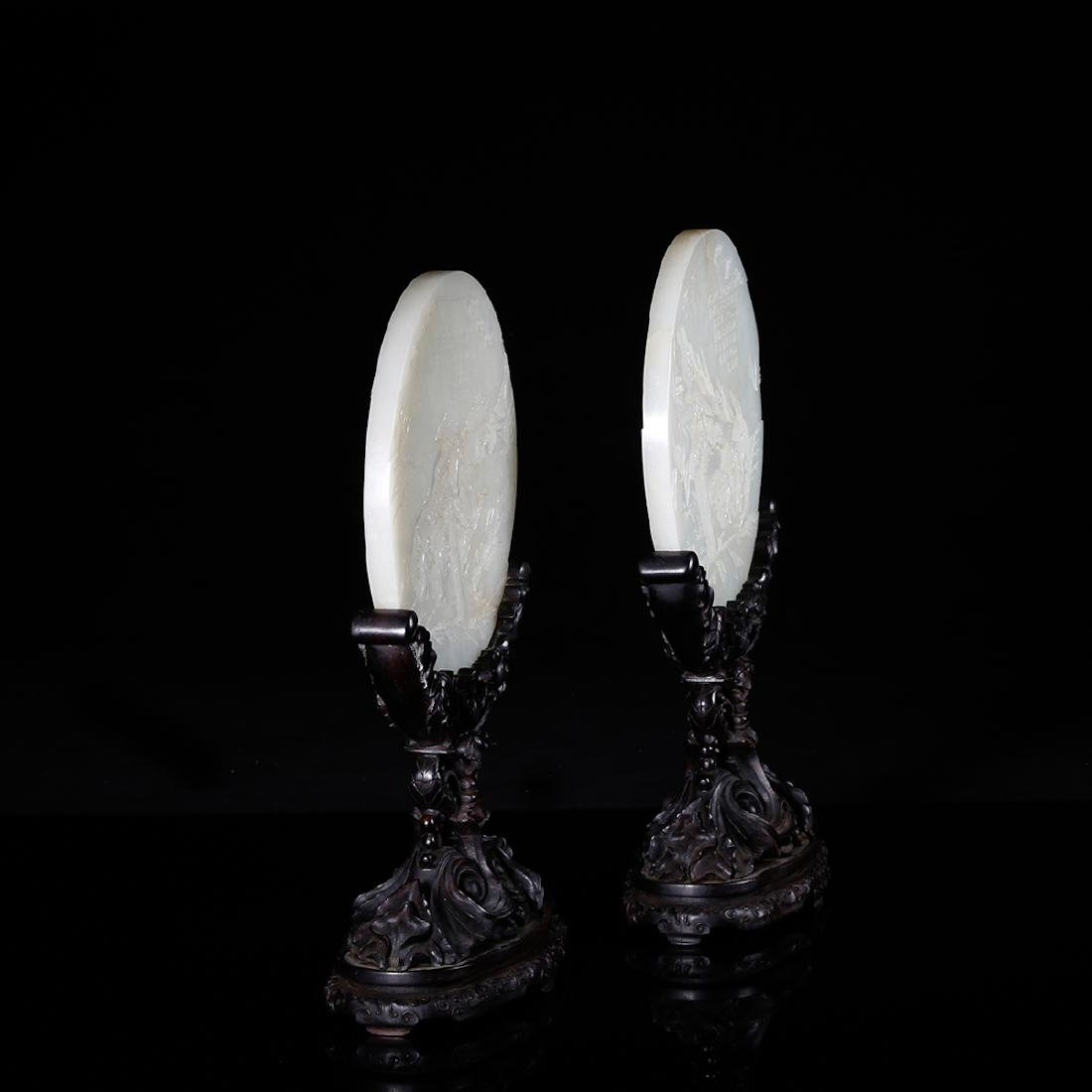 CHINESE WHITE JADE TABLE SCREEN, PAIR - 3