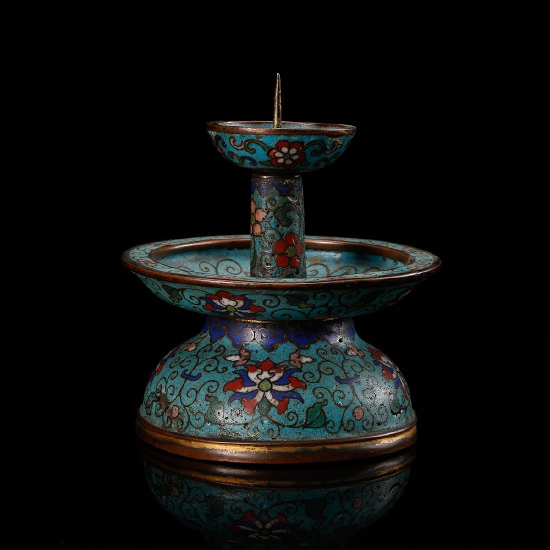 CHINESE CLOISONNE FOLIAGE CANDLE STAND