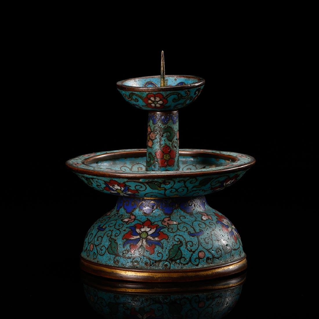 CHINESE CLOISONNE FOLIAGE CANDLE STAND - 3