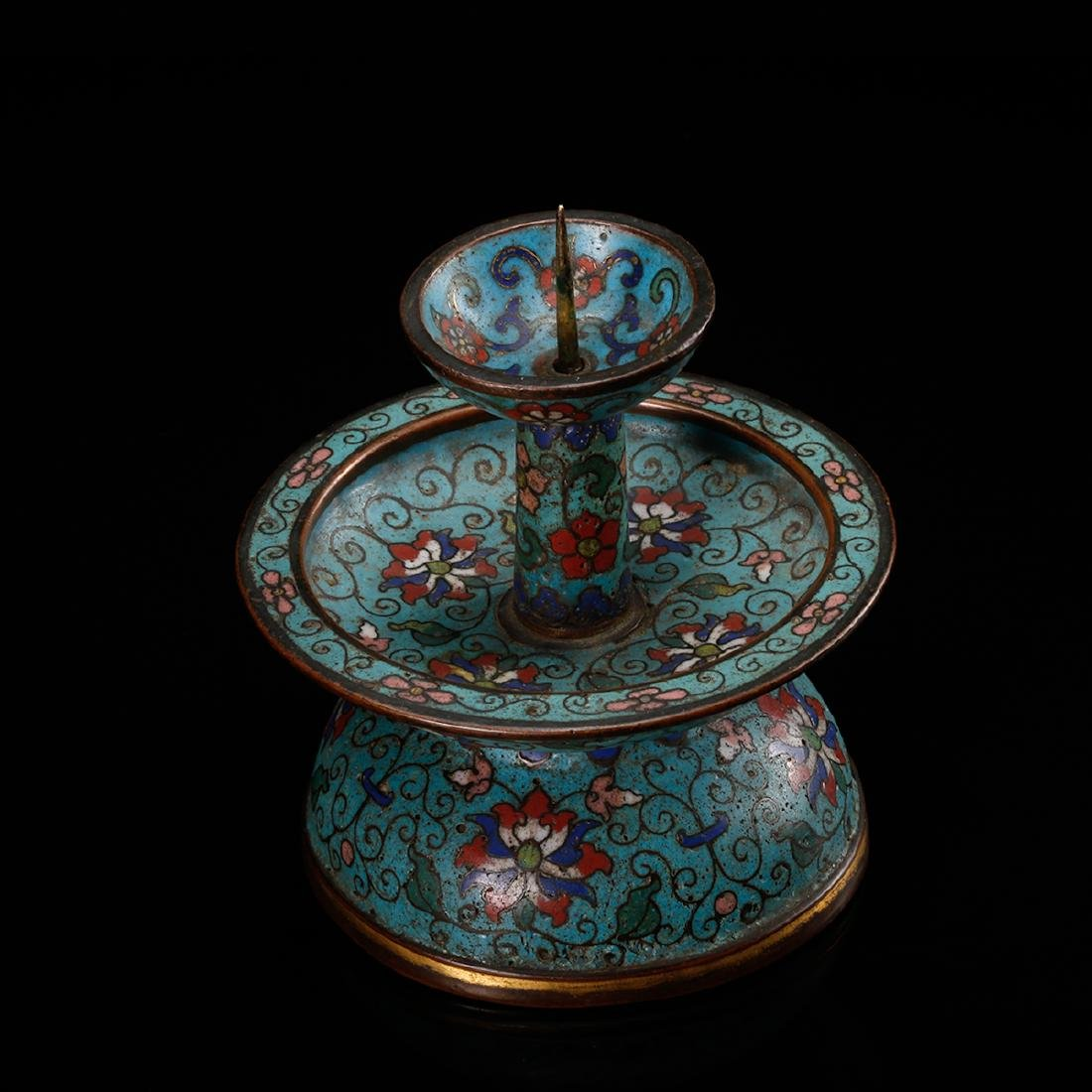 CHINESE CLOISONNE FOLIAGE CANDLE STAND - 4