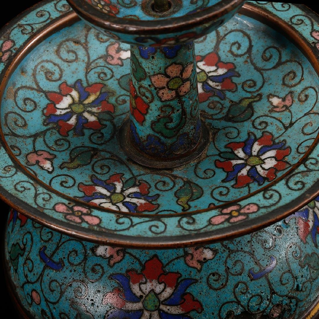 CHINESE CLOISONNE FOLIAGE CANDLE STAND - 6