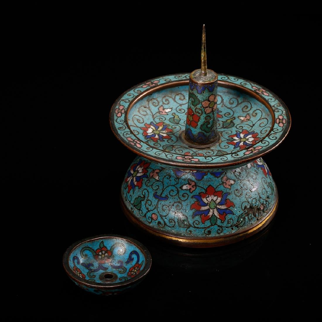 CHINESE CLOISONNE FOLIAGE CANDLE STAND - 7
