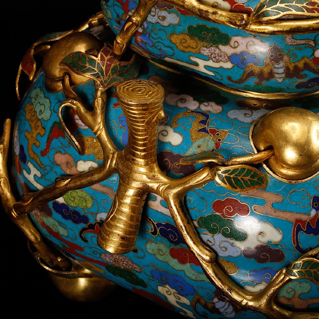 CHINESE CLOISONNE DOUBLE GOURD CENSER W/ MARK - 10