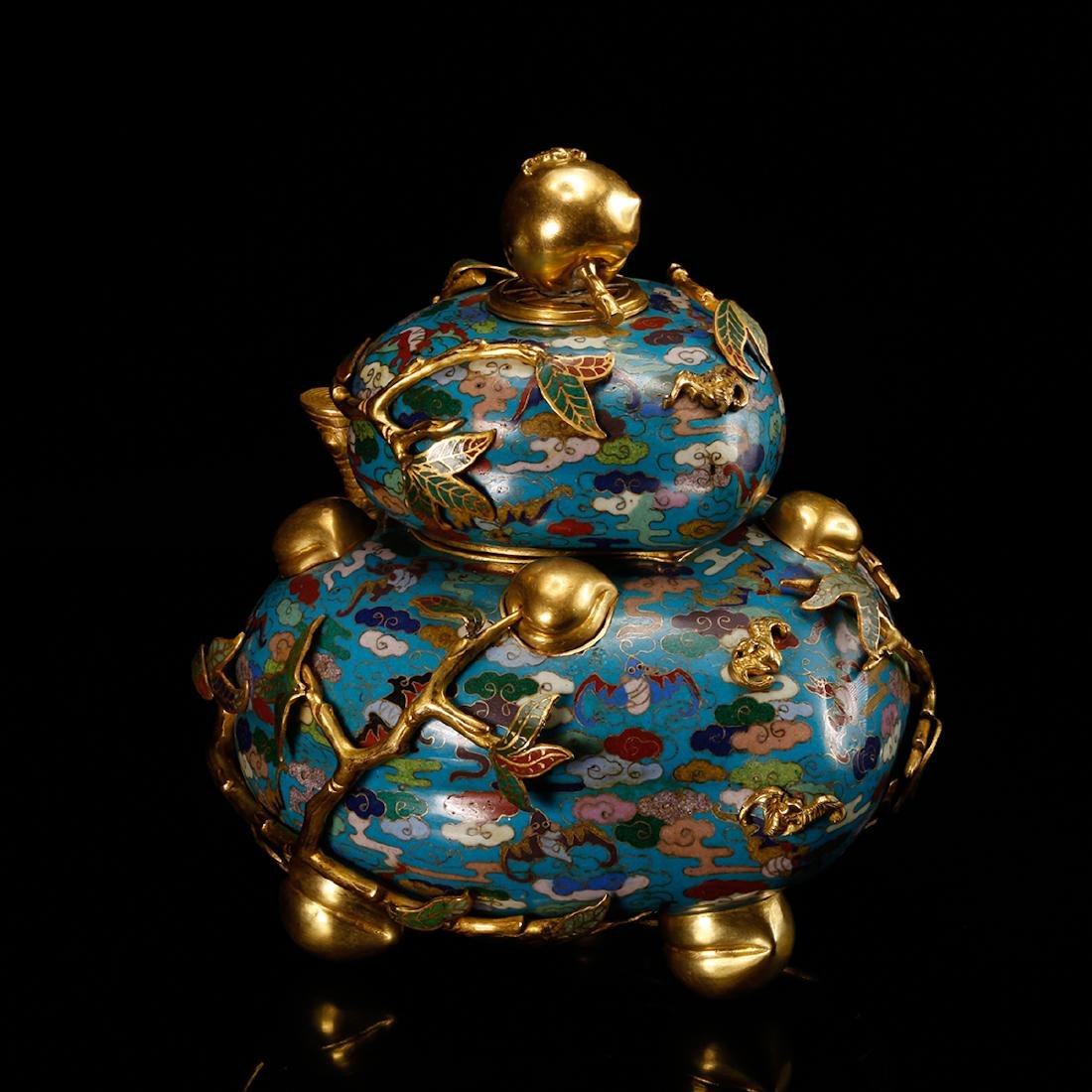 CHINESE CLOISONNE DOUBLE GOURD CENSER W/ MARK - 2