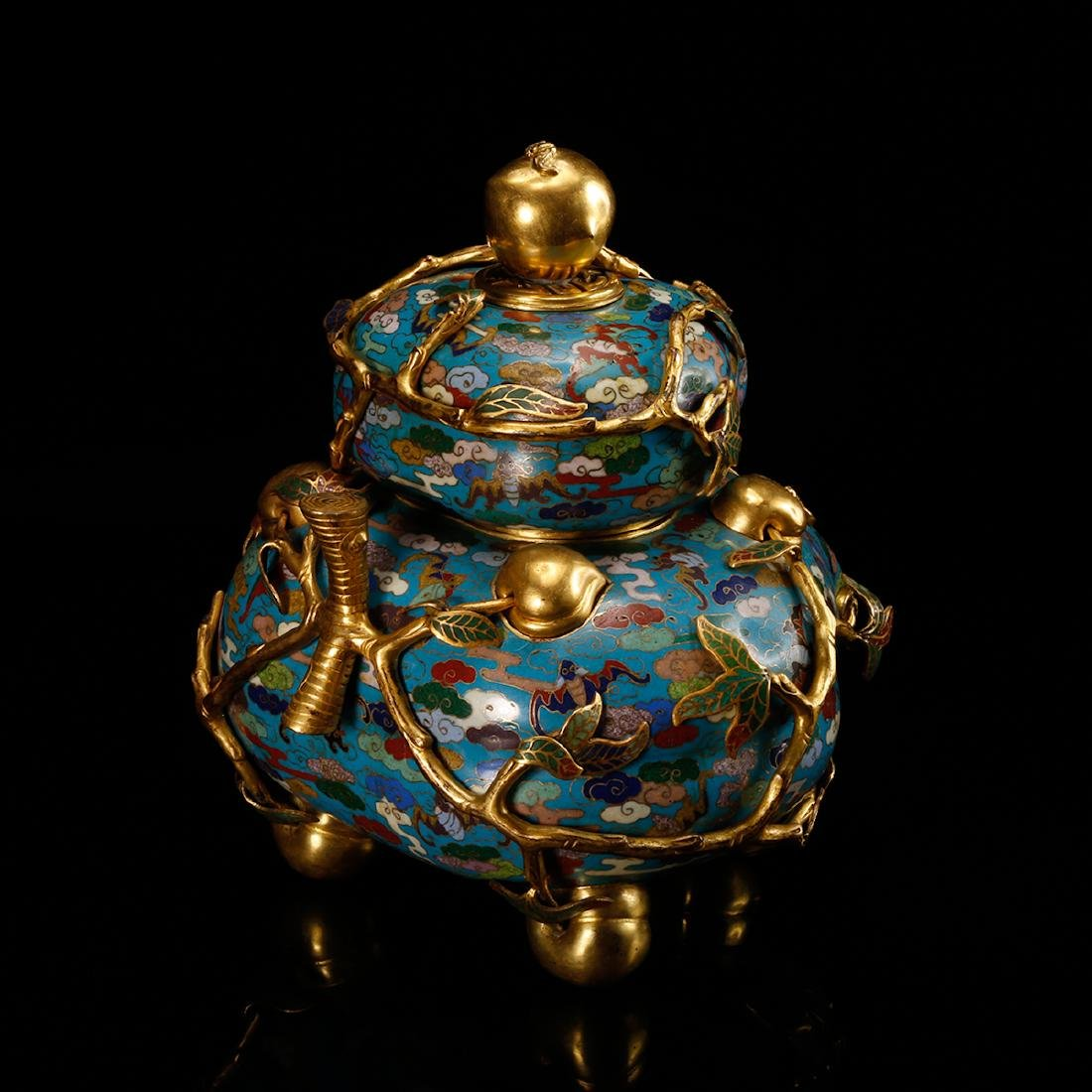 CHINESE CLOISONNE DOUBLE GOURD CENSER W/ MARK - 3