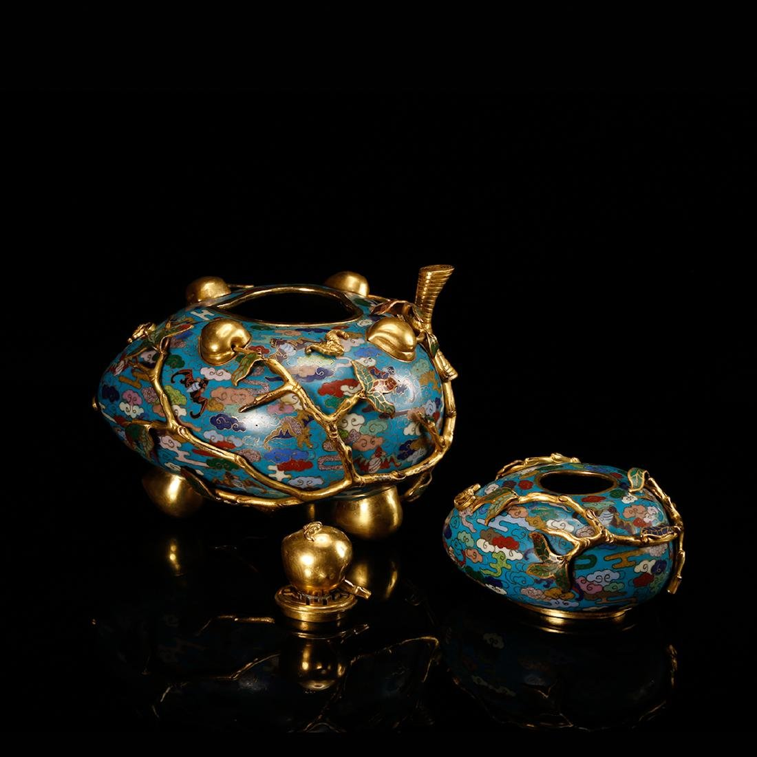 CHINESE CLOISONNE DOUBLE GOURD CENSER W/ MARK - 5
