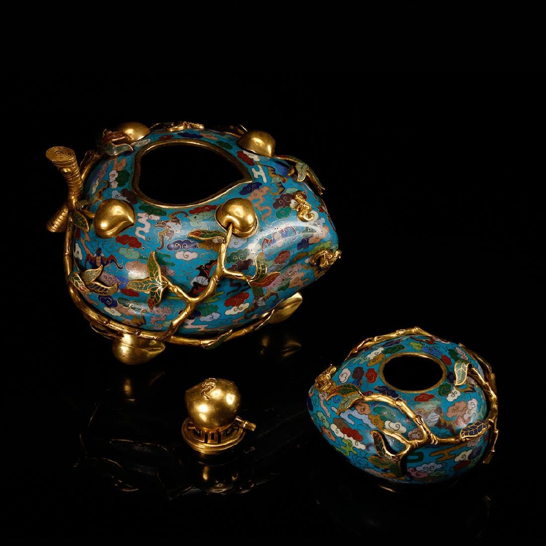 CHINESE CLOISONNE DOUBLE GOURD CENSER W/ MARK - 6