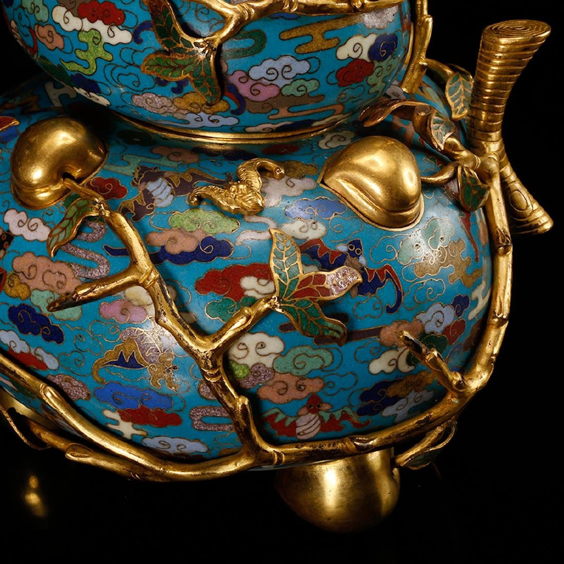 CHINESE CLOISONNE DOUBLE GOURD CENSER W/ MARK - 8