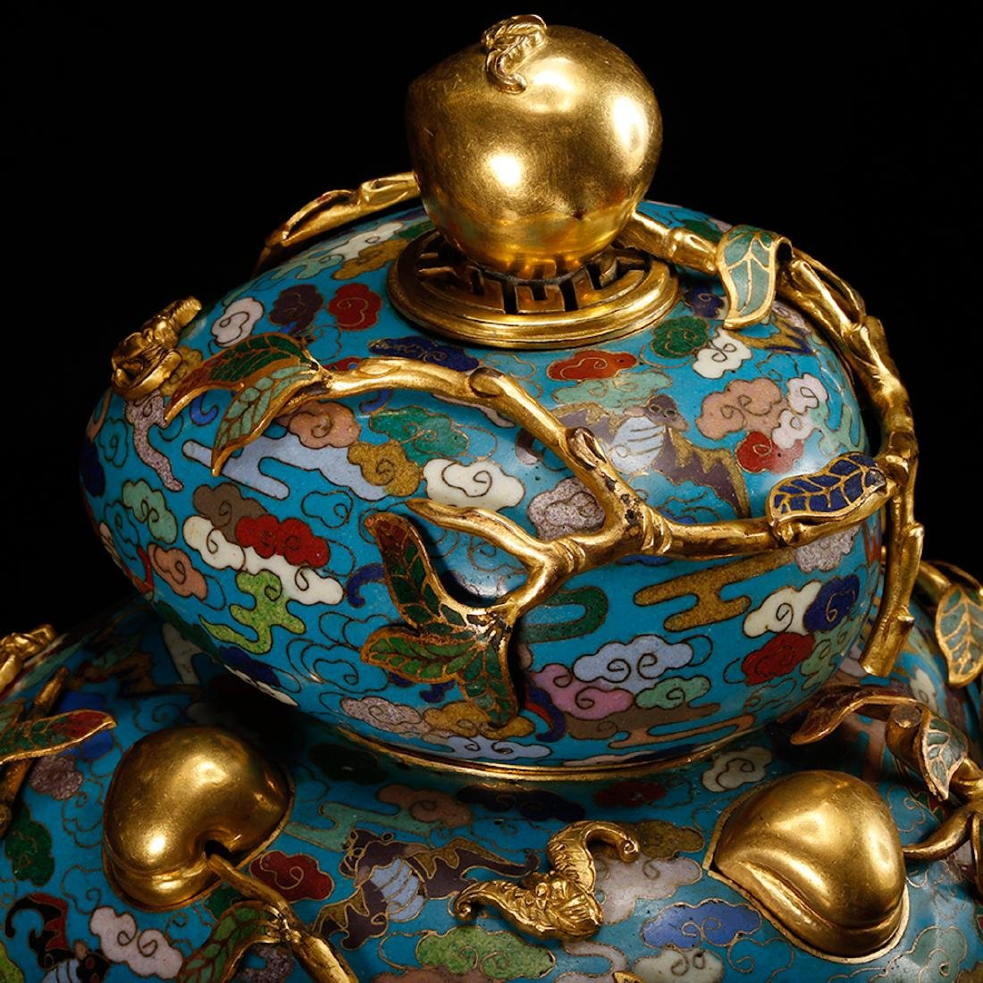 CHINESE CLOISONNE DOUBLE GOURD CENSER W/ MARK - 9