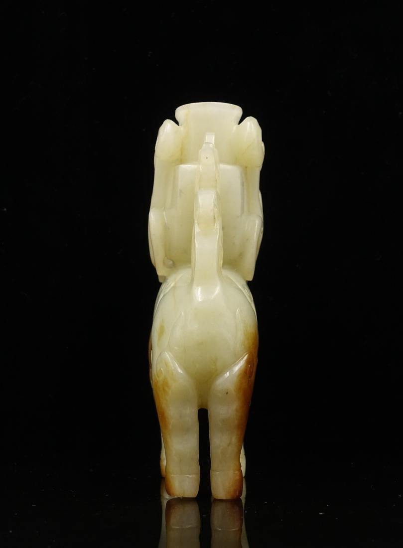 CHINESE WHITE JADE DEER WITH VASE - 2