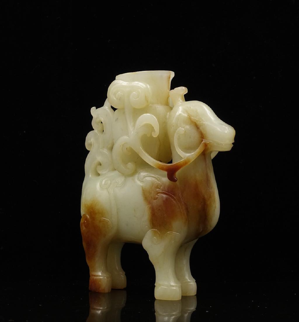 CHINESE WHITE JADE DEER WITH VASE - 3