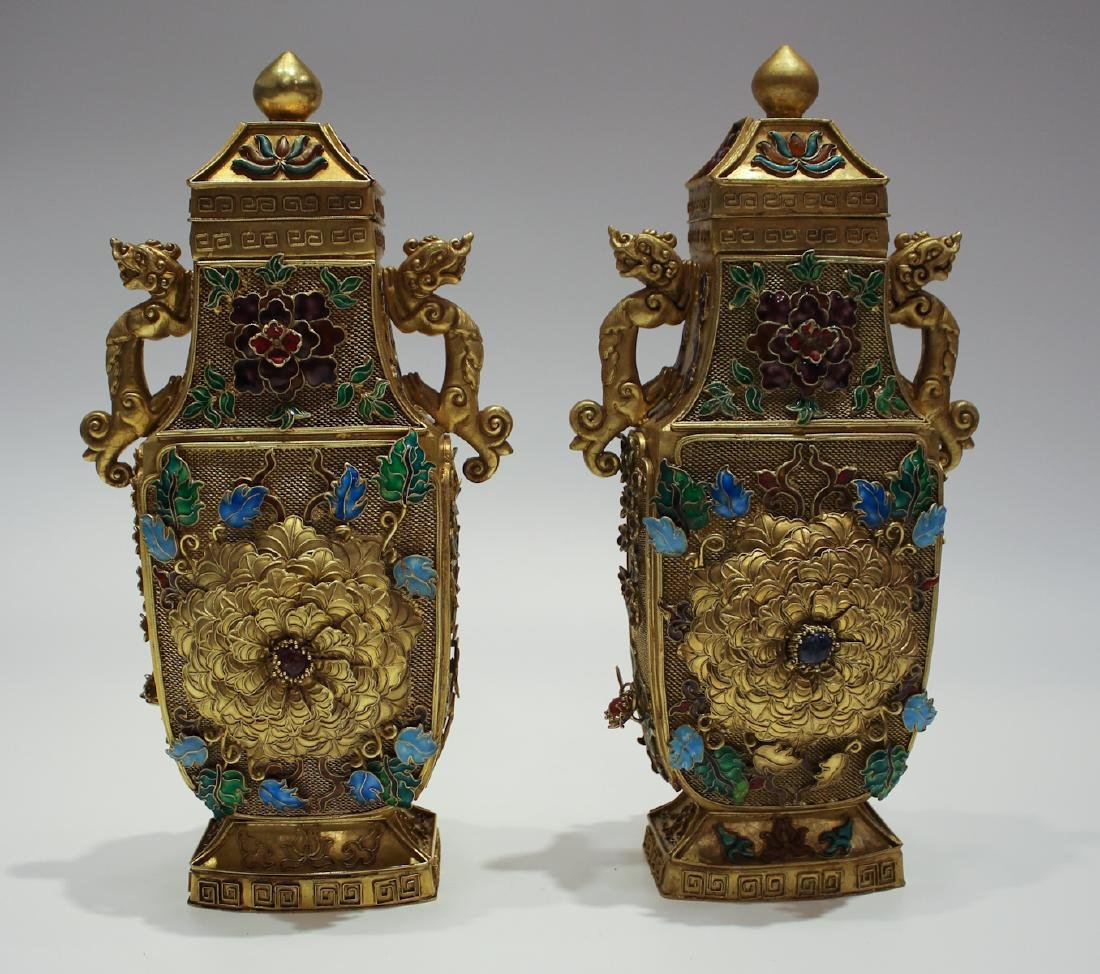 CHINESE GILT SILVER WIRE ENAMEL COVER VASES