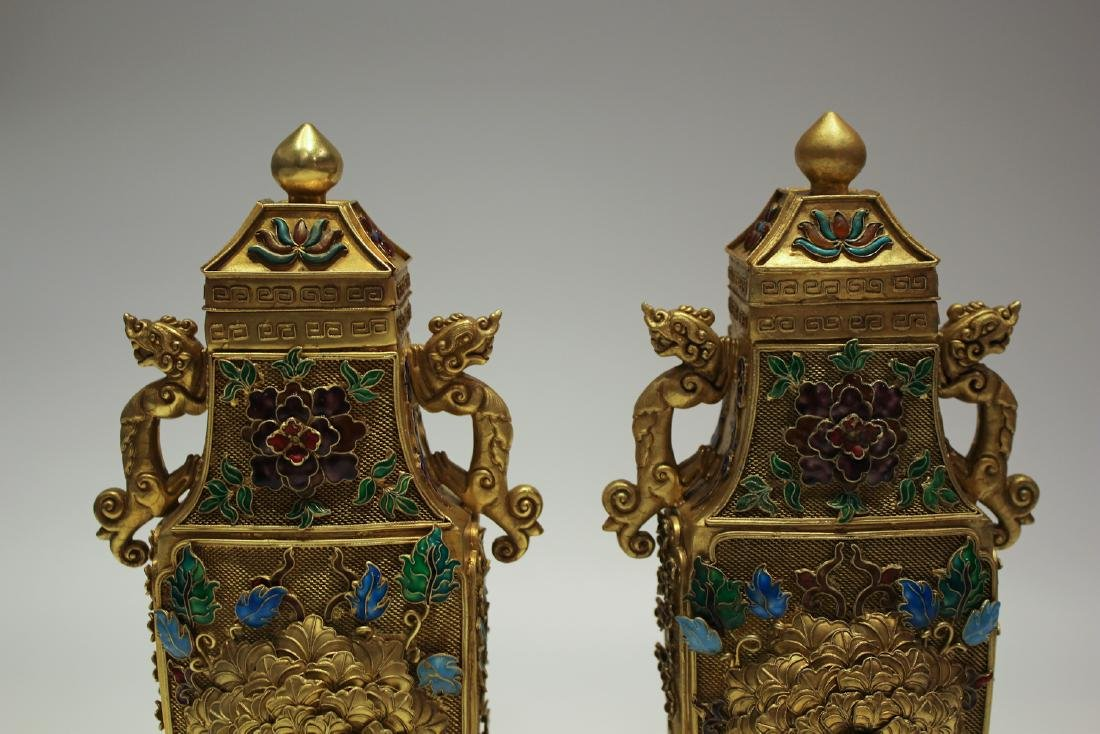 CHINESE GILT SILVER WIRE ENAMEL COVER VASES - 2