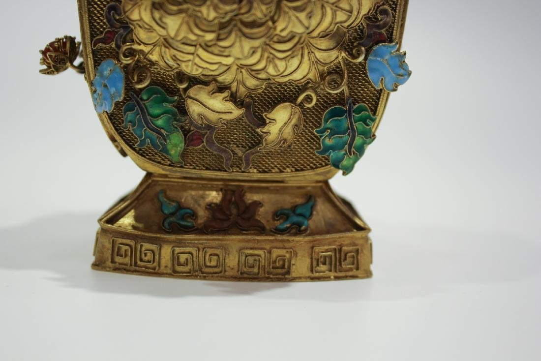 CHINESE GILT SILVER WIRE ENAMEL COVER VASES - 4