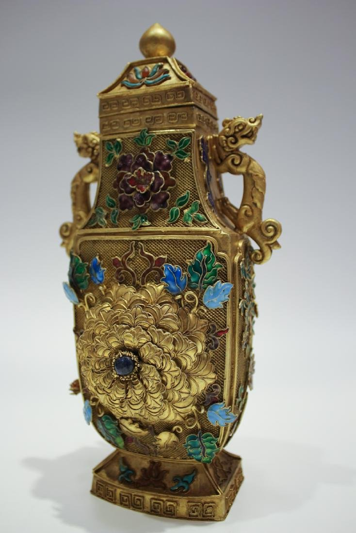 CHINESE GILT SILVER WIRE ENAMEL COVER VASES - 5