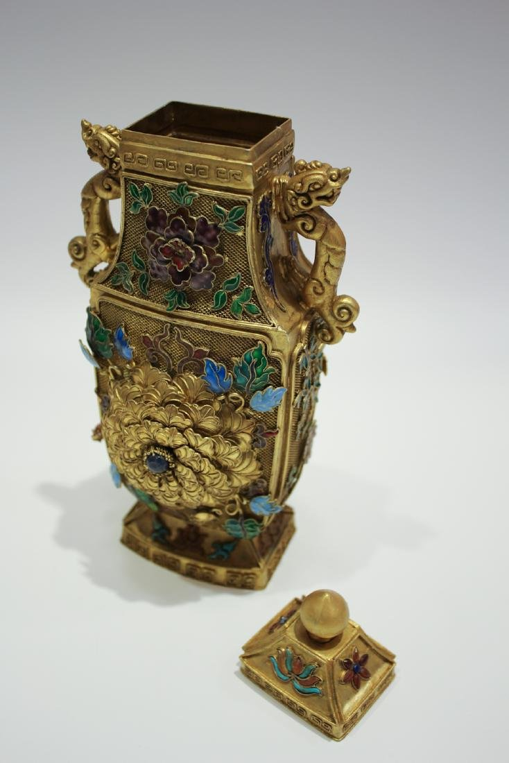 CHINESE GILT SILVER WIRE ENAMEL COVER VASES - 6