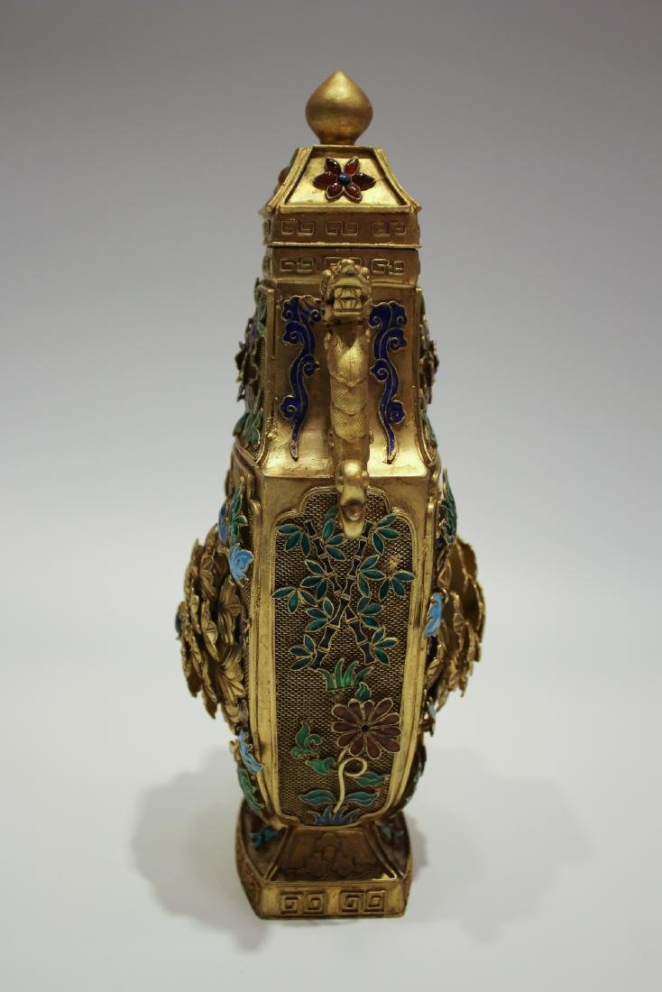CHINESE GILT SILVER WIRE ENAMEL COVER VASES - 7