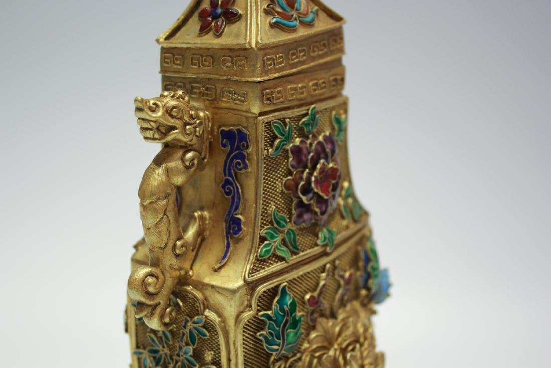 CHINESE GILT SILVER WIRE ENAMEL COVER VASES - 8