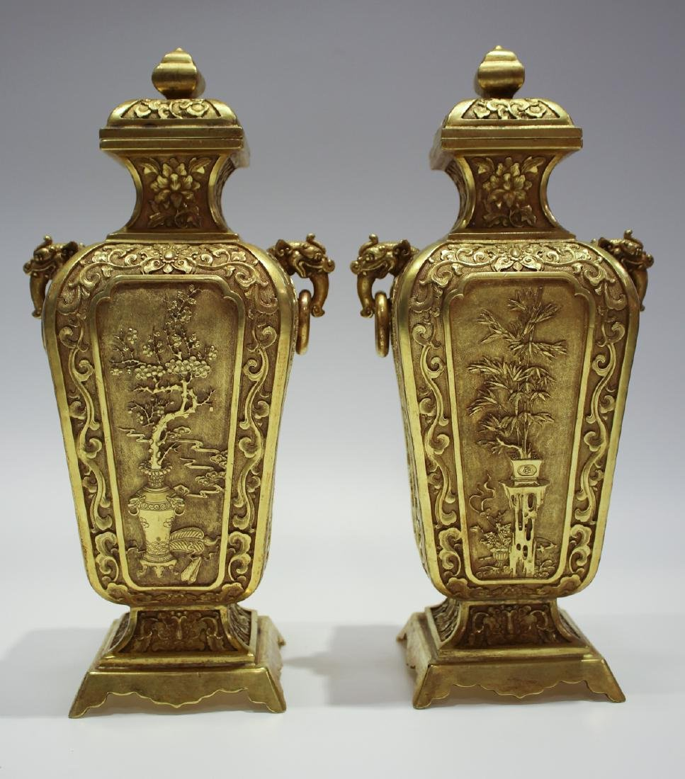 CHINESE GILT BRONZE COVER VASES