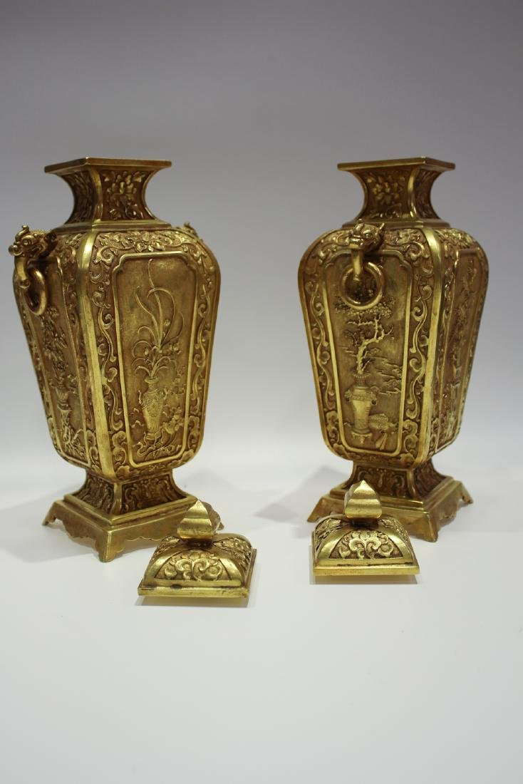 CHINESE GILT BRONZE COVER VASES - 3