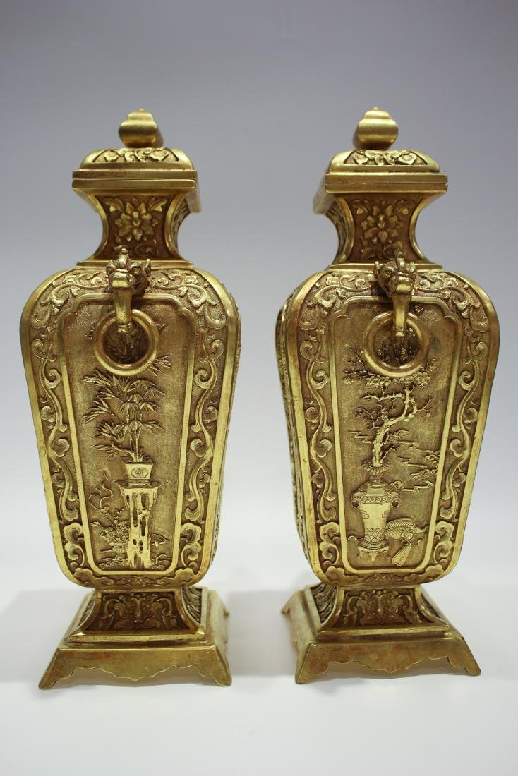 CHINESE GILT BRONZE COVER VASES - 5