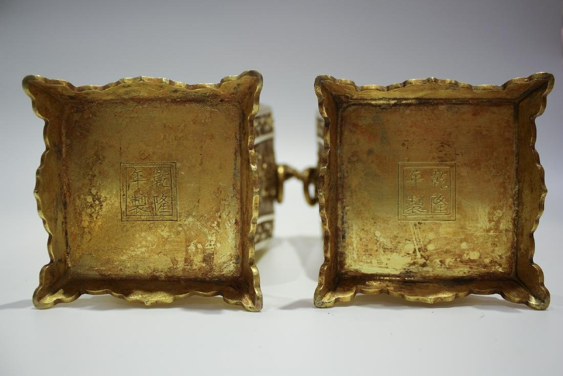 CHINESE GILT BRONZE COVER VASES - 6