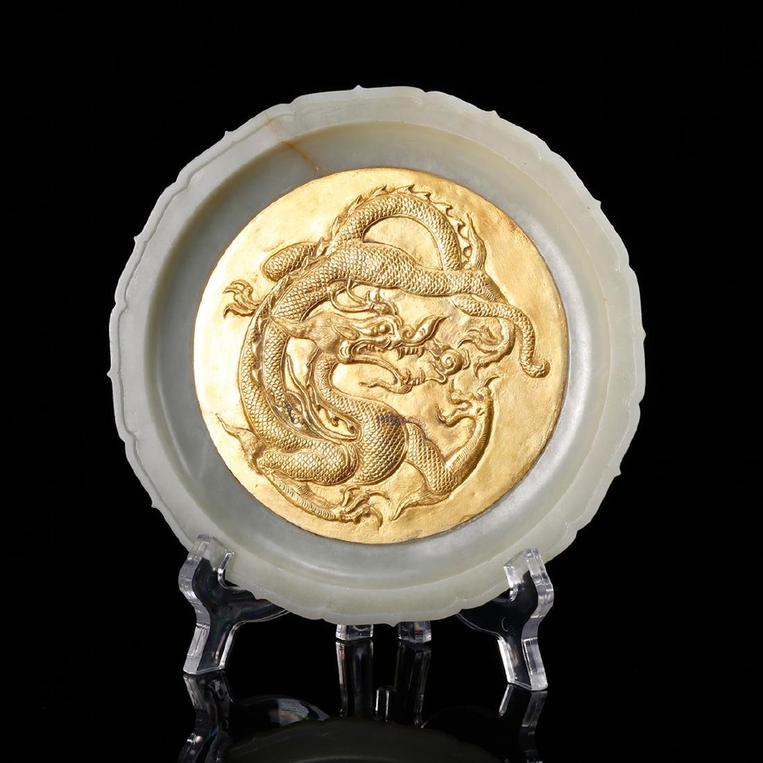 CHINESE WHITE JADE PLATE WITH GILT SILVER INLAID