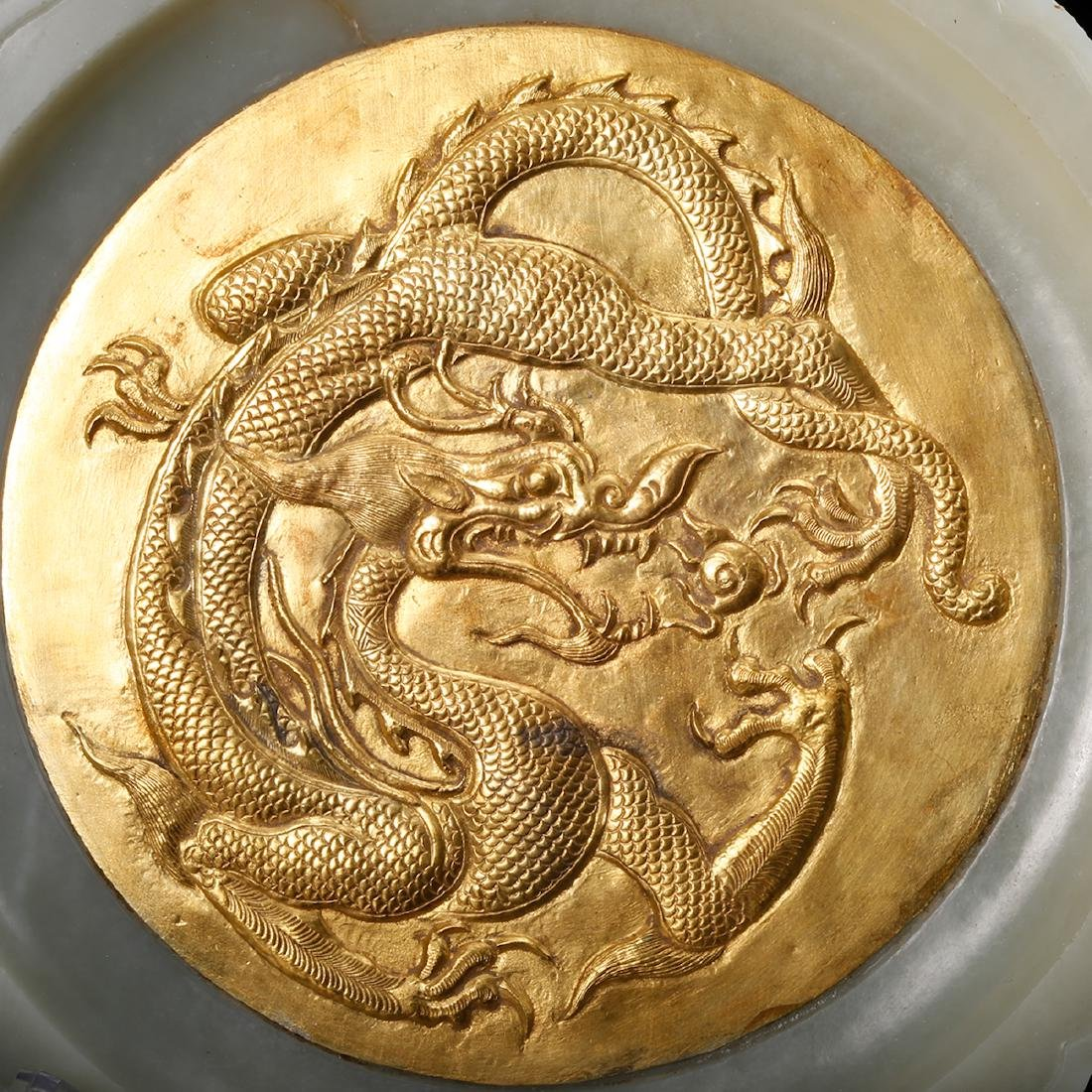 CHINESE WHITE JADE PLATE WITH GILT SILVER INLAID - 6