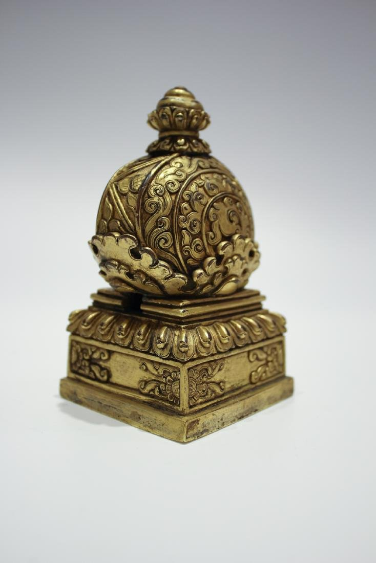 CHINESE GILT BRONZE DALAI LAMA SEAL - 4
