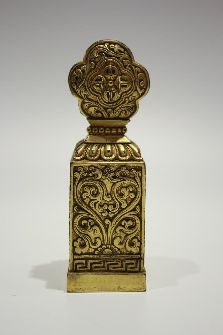 CHINESE GILT BRONZE DALAI LAMA SEAL