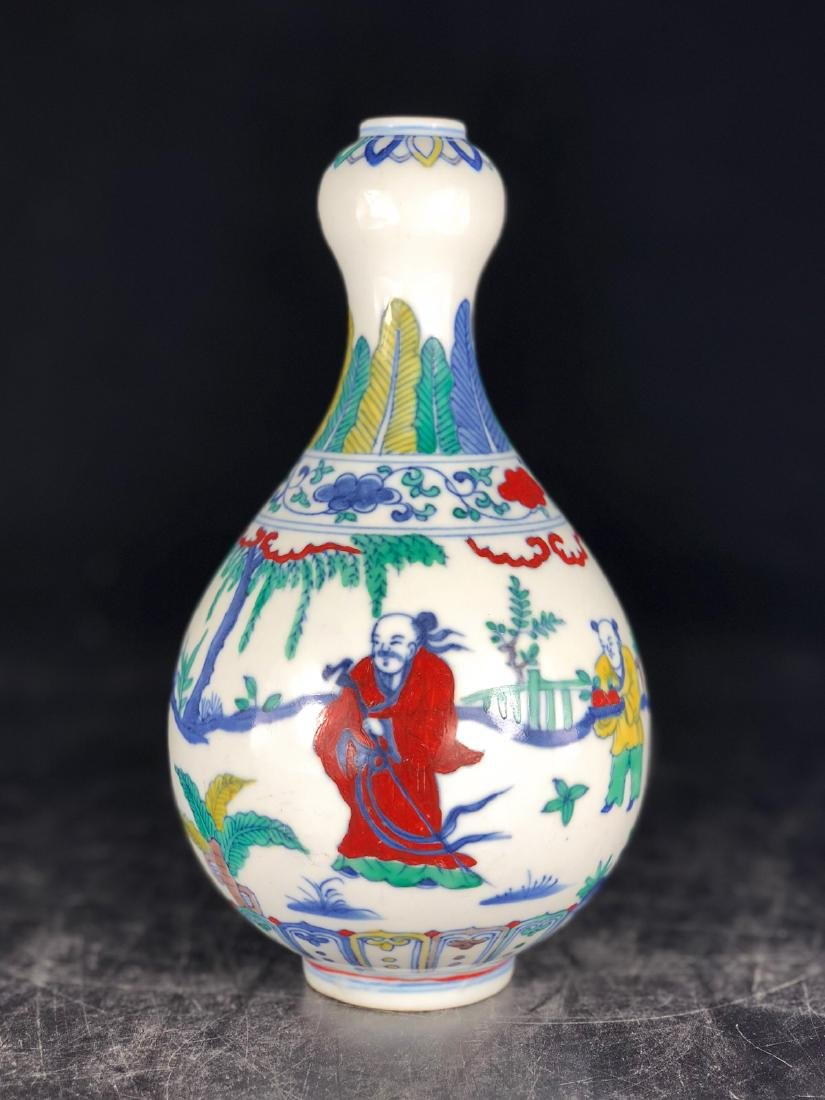 CHINESE WUCAI GARLIC HEAD VASE - 6