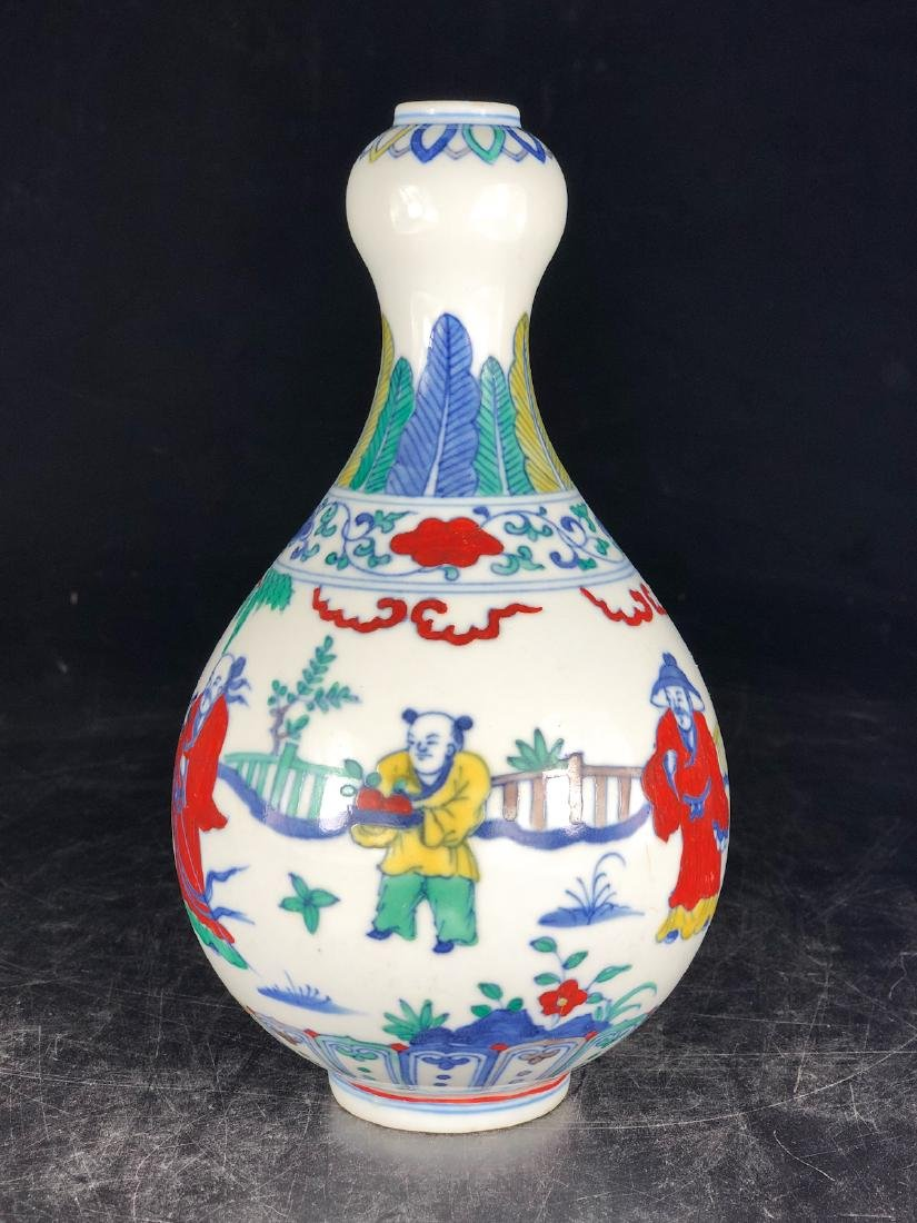 CHINESE WUCAI GARLIC HEAD VASE - 7