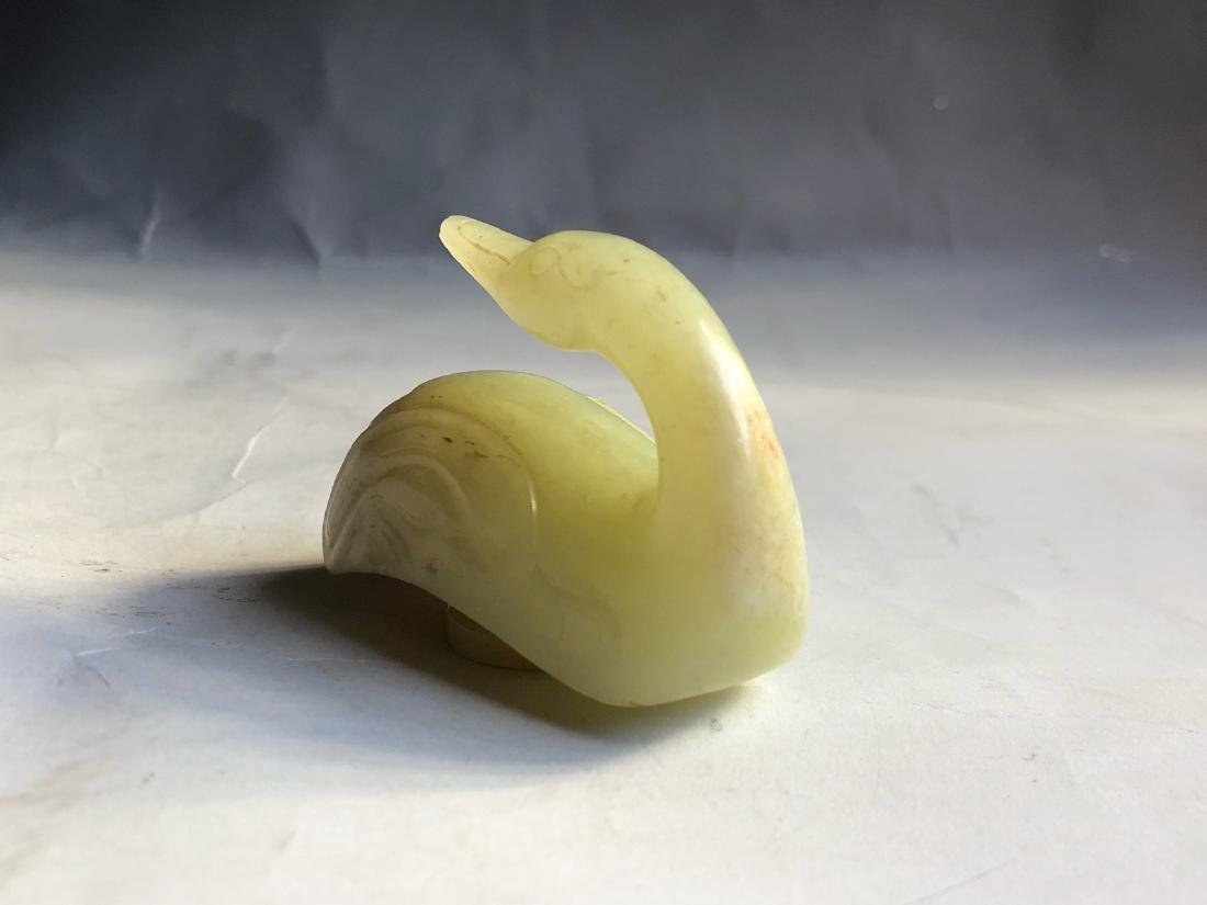 CHINESE JADE CARVED GOOSE - 2