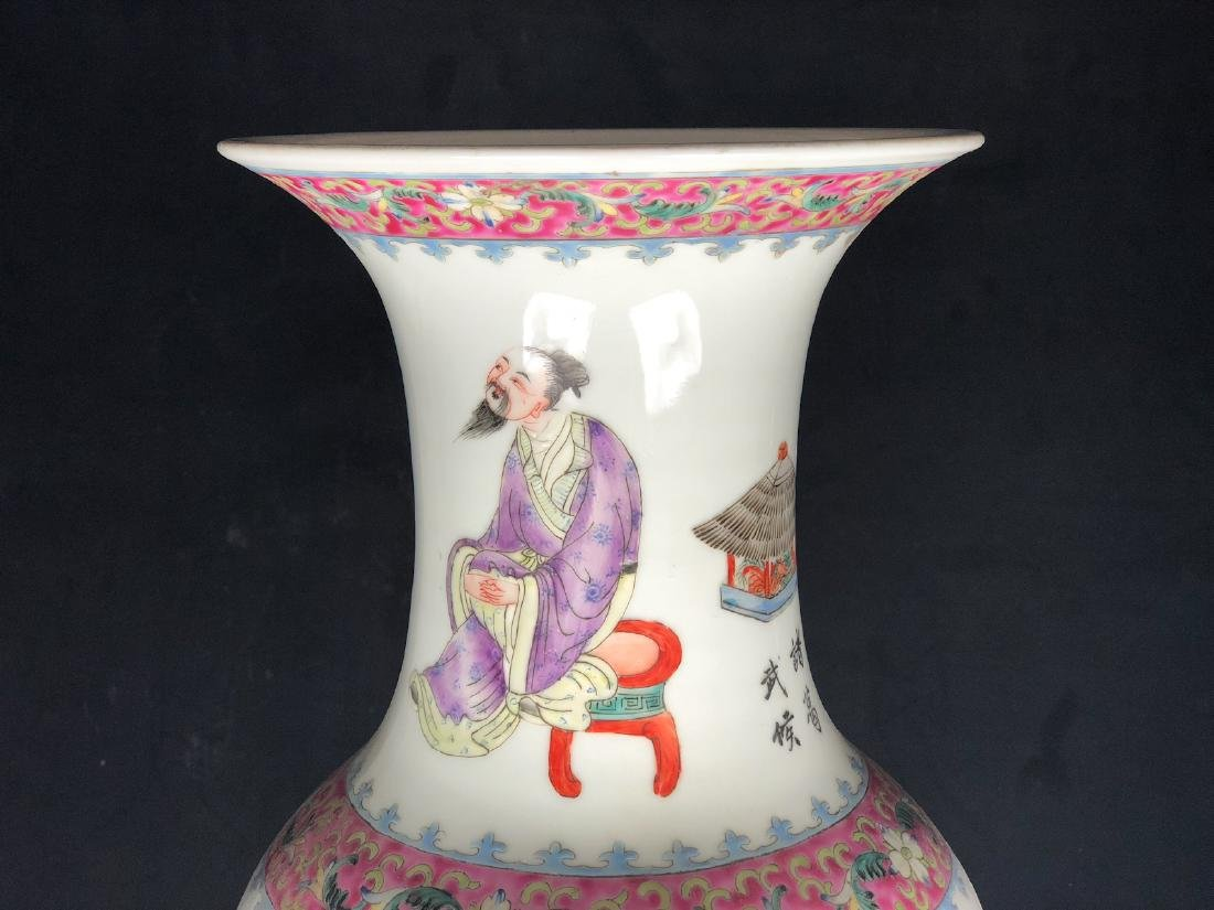 CHINESE FAMILLE ROSE PORCELAIN VASE, PAIR - 10