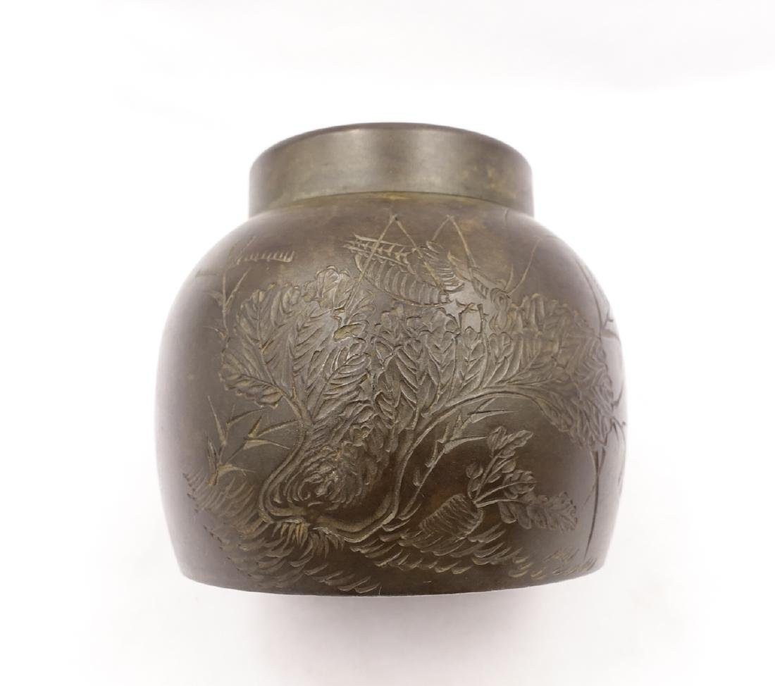 CHINESE PEWTER TEA CADDY - 10